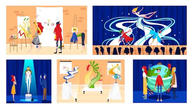 Exposición de galería de arte moderno y actuación creativa, artistas y visitantes, ilustración.