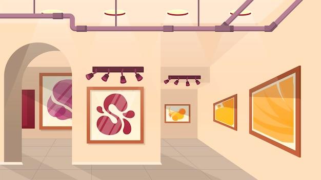 Exposición de la galería - ilustración isométrica