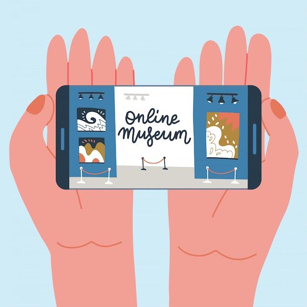 Exposición en línea del museo. galería de arte contemporáneo. manos con teléfono con aplicación de exhibición en pantalla. colorida ilustración plana con letras. hobby hogareño para el autoaislamiento.