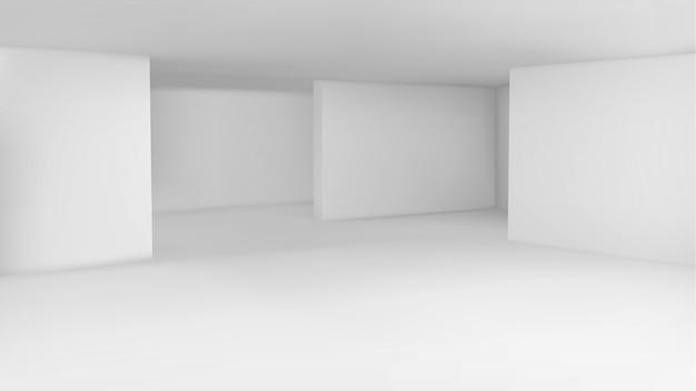 Exposición mínima de galería de arte vacía.