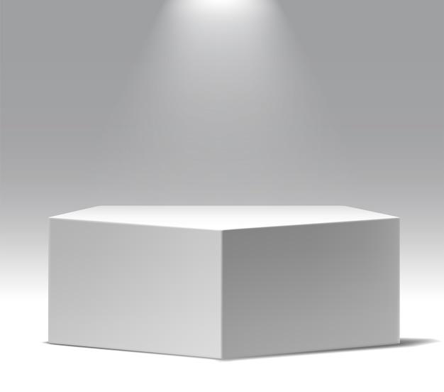 Exposición del museo, stand de productos en blanco.