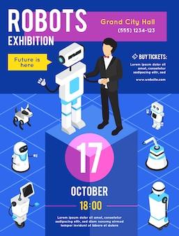 Exposición de robots con cartel publicitario isométrico.