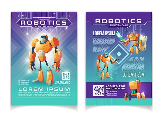 Exposición de tecnología de robótica e inteligencia artificial publicitaria flyer páginas de dibujos animados plantilla.