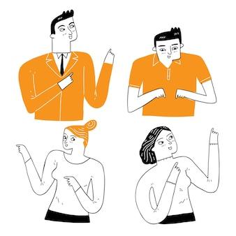 Expresar la personalidad de una persona, pose, señalando o dando instrucciones. ilustración vectorial