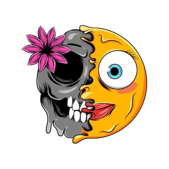 Una expresión avergonzada con lápiz labial rosa cambia a una calavera oscura con un emoticono de flores