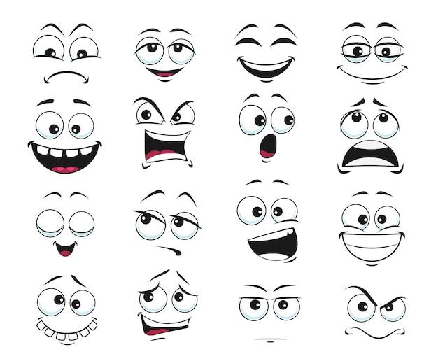 Expresión de la cara aislada, emoji de divertidos dibujos animados satisfecho, dentudo y loco, enojado, riendo y triste. sentimientos de emoticonos faciales molestos, felices y tristes, insatisfechos. conjunto de expresiones faciales lindas