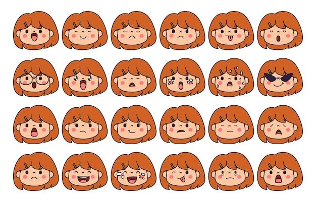 Expresión de conjunto de conceptos de emoción. cara de emoción de ilustración de dibujos animados del ser humano.