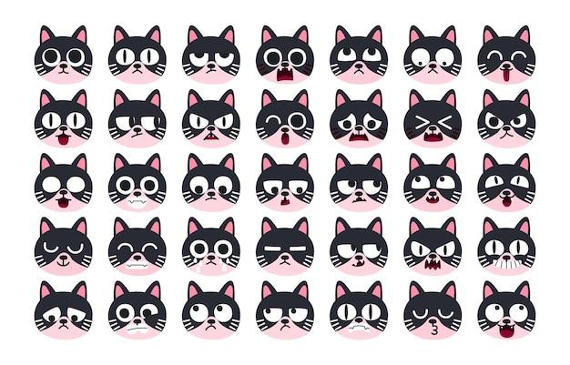 Expresión de conjunto de conceptos de emoción. carácter de gato en diferentes emociones animales.