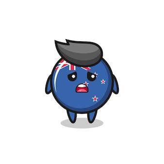 Expresión decepcionada de la caricatura de la insignia de la bandera de nueva zelanda, diseño de estilo lindo para camiseta, pegatina, elemento de logotipo