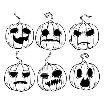 Expresión divertida de calabaza de halloween con estilo dibujado a mano o incompleto