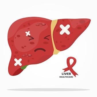 Expresión dolorosa del personaje de dibujos animados de hígado. cinta de signo de cáncer de hígado.