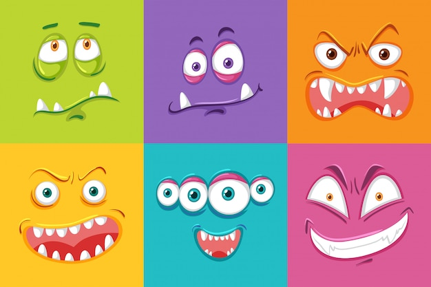 Expresión facial de diferentes monstruos.