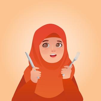 Expresión hambrienta hijab niña de dibujos animados