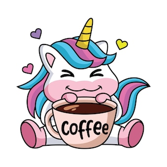 Expresión de un lindo unicornio de dibujos animados feliz con una taza de café