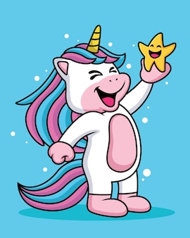 Expresión de un lindo unicornio de dibujos animados riendo con una estrella