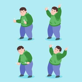 Expresión de personaje de chico gordo