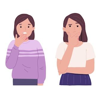Expresión en el rostro de una mujer joven que está sorprendida y pensando con la mano en la barbilla