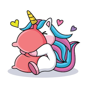 Expresión del unicornio de dibujos animados avergonzado por el amor