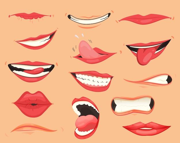 Expresiones de boca. labios con una variedad de emociones, expresiones faciales. labios femeninos en estilo de dibujos animados. colección de labios de gestos. conjunto de dibujos animados de boca divertida y emoción. pintalabios rojo.