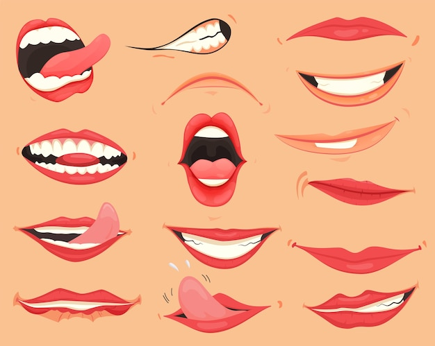 Expresiones de boca. labios con una variedad de emociones, expresiones faciales. labios femeninos en estilo de dibujos animados. colección de labios de gestos.