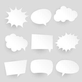 Expresiones y burbujas de chat cómico estilo papercut