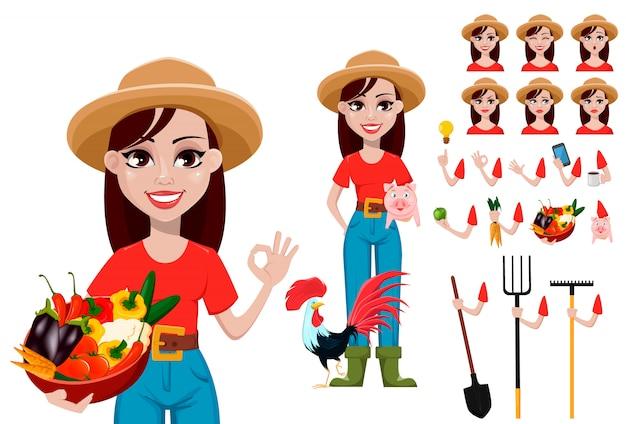 Expresiones de la cara de la mujer del granjero en el sombrero