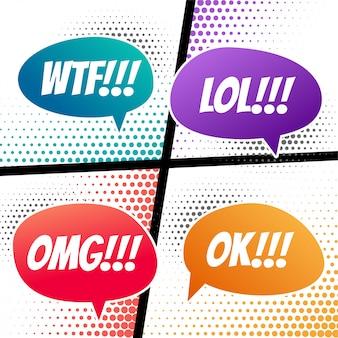 Expresiones de diálogo de discurso cómico burbuja en diferentes colores.