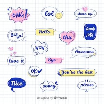 Expresiones dibujan en la colección de burbujas de discurso