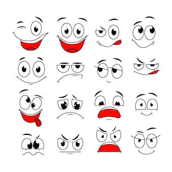 Expresiones de dibujos animados. cara linda elementos ojos y bocas con emociones felices, tristes y enojadas, de incredulidad. personajes de vector de caricatura. emoción de expresión enojada, dibujo feliz e ilustración de risa