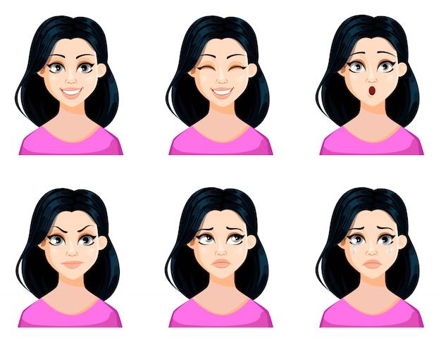 Expresiones faciales de hermosa mujer con cabello oscuro.