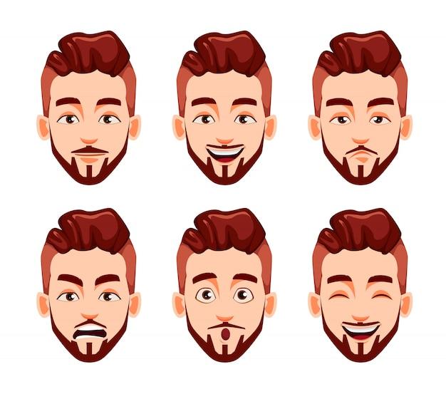 Expresiones faciales de hombre joven moderno y elegante