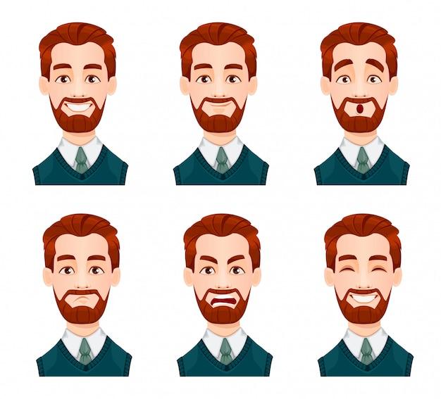Expresiones faciales del hombre de negocios