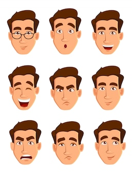 Expresiones faciales de un hombre