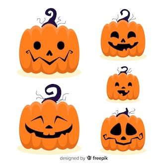 Expresiones faciales de jack-o-lantern de halloween