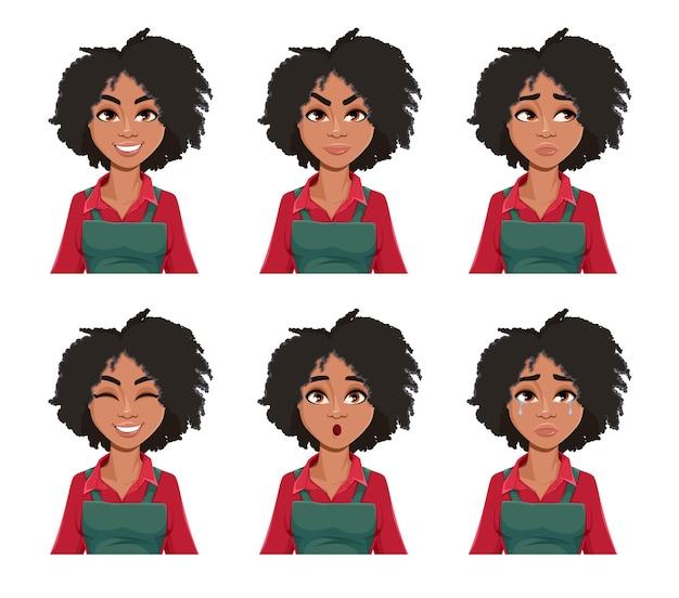 Expresiones faciales de jardinero hermosa mujer afroamericana