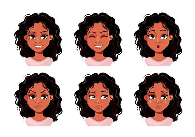 Expresiones faciales de linda dama