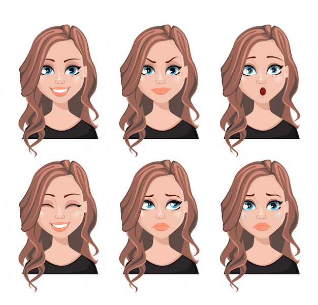 Expresiones faciales de mujer con cabello castaño.