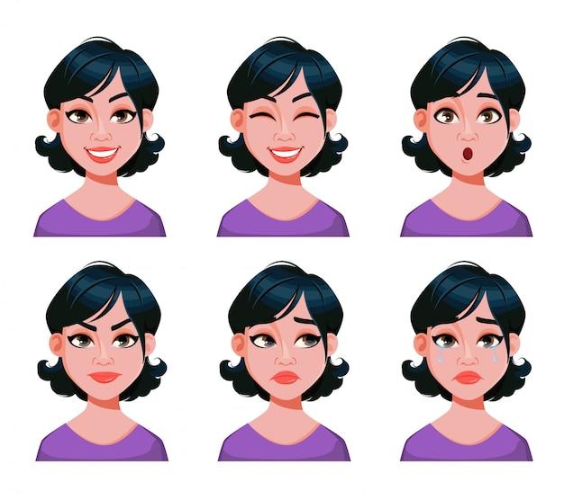 Expresiones faciales de mujer con corte de pelo elegante