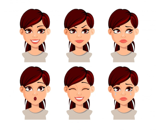 Expresiones faciales de mujer hermosa