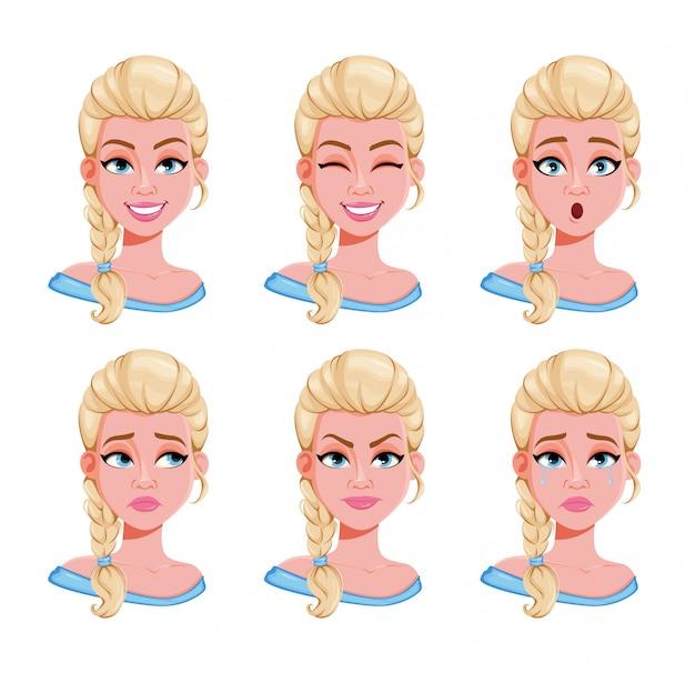 Expresiones faciales de mujer rubia, set