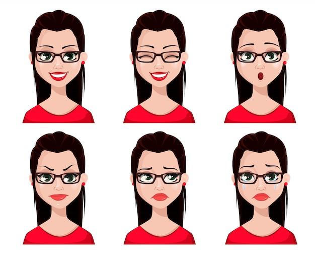 Expresiones faciales de secretaria sexy