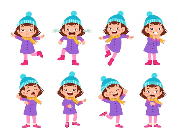 Las expresiones infantiles usan ropa de otoño invierno