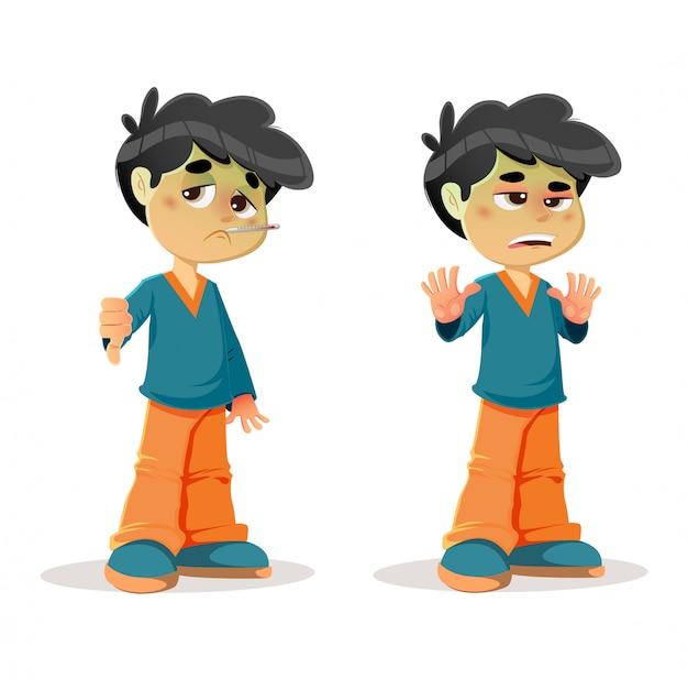 Expresiones de niño disgustado enfermo