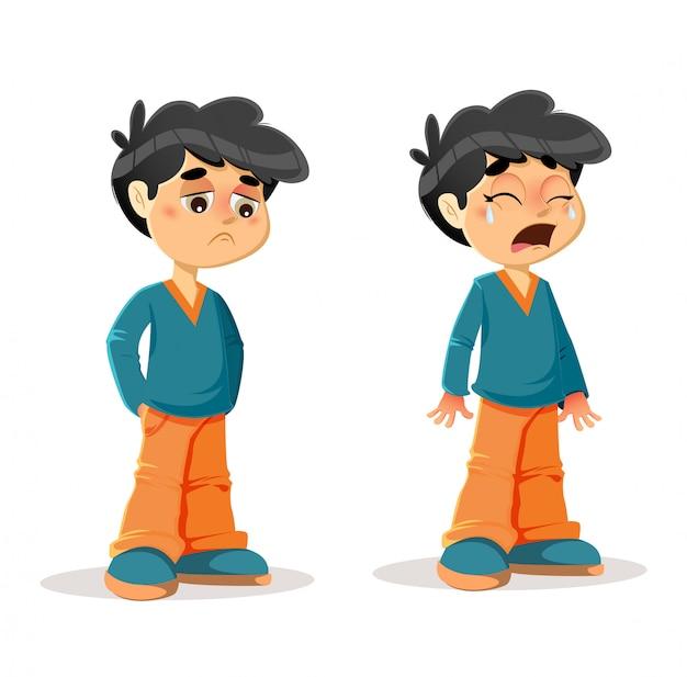 Expresiones de niño llorando triste