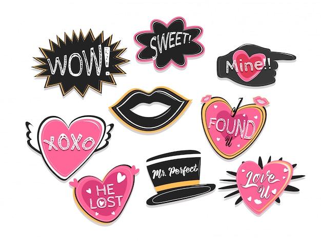 Expresiones de palabras establecidas para accesorios de fotomatón de fiesta.