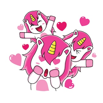 Las expresiones de unicornio se enamoran