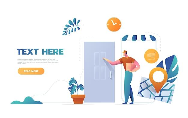 Express courier special delivery boy man messenger concepto de caja de cartón llamando a la puerta del cliente fondo de pared diseño de dibujos animados ilustración vectorial