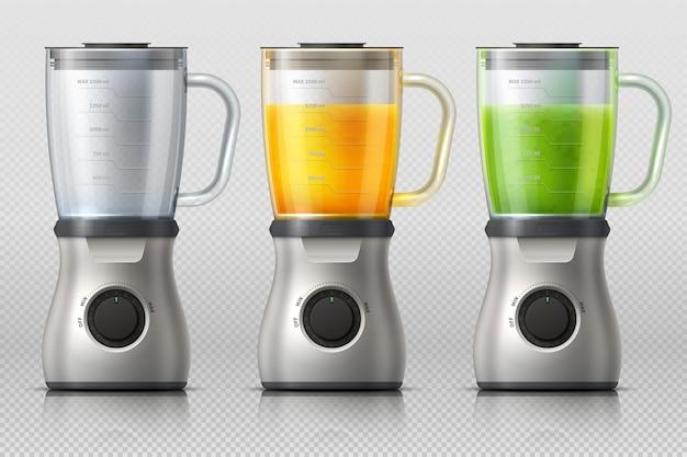 Exprimidor batidora de cocina con jugo de naranja y manzana, mezclador de bebidas realista vector aislado
