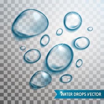 Exquisita colección de elementos de gotas de agua sobre fondo transparente