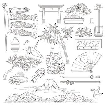 Exquisita colección de elementos de viaje de japón.